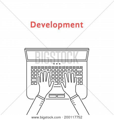 black thin line hands on laptop. concept of testing, freelancer routine, lifestyle, analytics, promotion, seo, designer, developer. flat style trend design vector illustration on white background