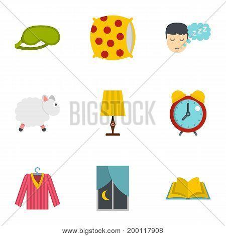 Sleep symbols icon set. Flat style set of 9 sleep symbol vector icons for web isolated on white background