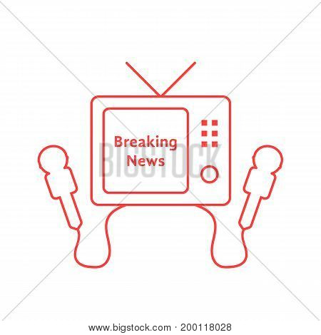 thin line breaking news with red tv icon. concept of entertainment, studio, newscast, paparazzi, home cinema, information. flat style trend modern logo design vector illustration on white background