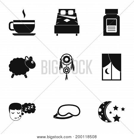 Time to sleep icon set. Simple style set of 9 time to sleep vector icons for web isolated on white background