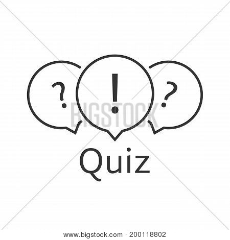 black thin line quiz logo. concept of tv show, support, faq, vote, query, forum, who issue, knowledge verification. flat style trend modern quizz emblem design vector illustration on white background