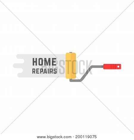 home repairs logo with roller. concept of renewal, housework, diy, company label, platen, decorator, dyeing, hang wallpaper. flat style modern logotype design vector illustration on white background