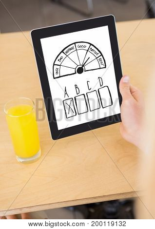 Digital composite of Survey graphics on tablet in hand