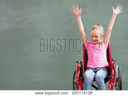 Digital composite of Disabled girl in wheelchair in front of blackboard