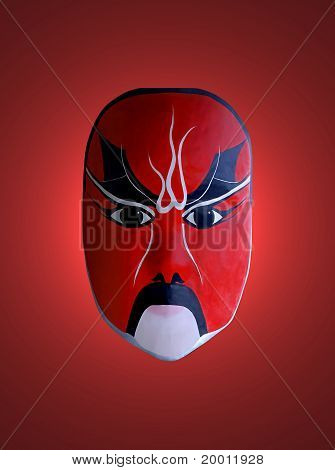 Mask Of Chinese Opera With Red Isolated Background