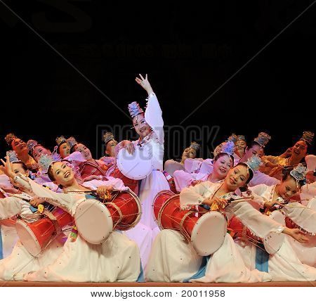 Korean ethnic dancers perform on stage