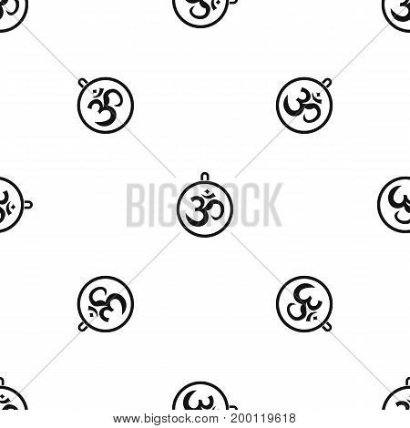 Indian coin pattern repeat seamless in black color for any design. Vector geometric illustration