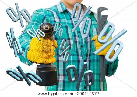 Repairman With The Screwdriver And The Wrench.