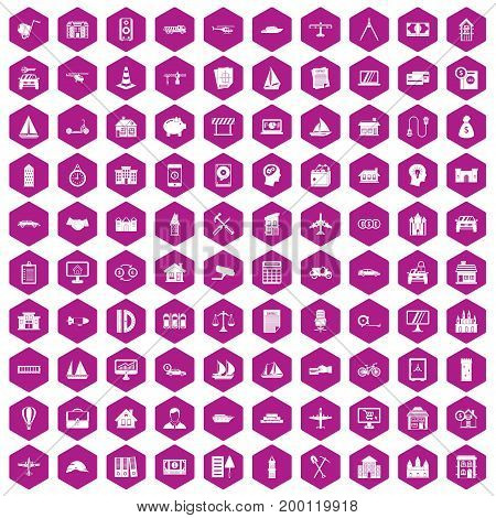 100 private property icons set in violet hexagon isolated vector illustration