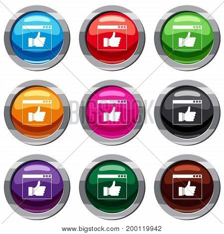 Hand with thumb up in browser set icon isolated on white. 9 icon collection vector illustration