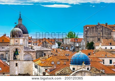 Famous european travel resort in Croatia, Dubrovnik old town, UNESCO World's Heritage Site.