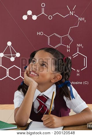 Digital composite of Student girl at table looking up against red blackboard with school and education graphic