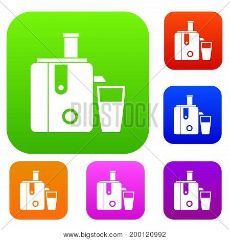 Juicer set icon in different colors isolated vector illustration. Premium collection