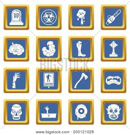 Zombie icons set in blue color isolated vector illustration for web and any design