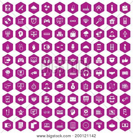 100 programmer icons set in violet hexagon isolated vector illustration