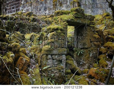 ruined abandoned stone house with collapsed walls and moss growing over the doorway