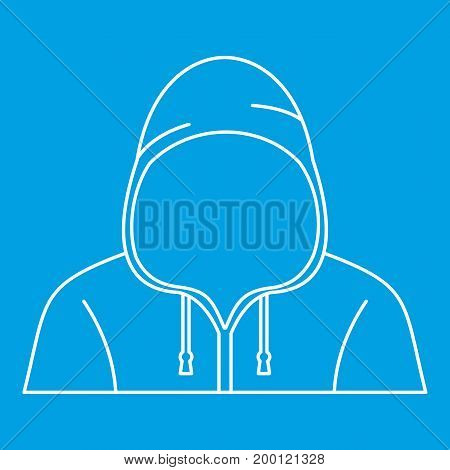 Hooded man icon blue outline style isolated vector illustration. Thin line sign