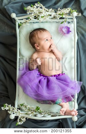 Newborn baby girl princess in purple dress with crown lying on soft white little bed