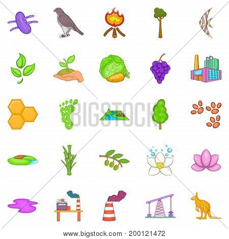 Pollution of nature icons set. Cartoon set of 25 pollution of nature vector icons for web isolated on white background