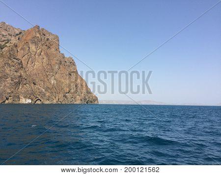 Summer view seacoast. Warm sea and beautiful nature. Black Sea, Crimea