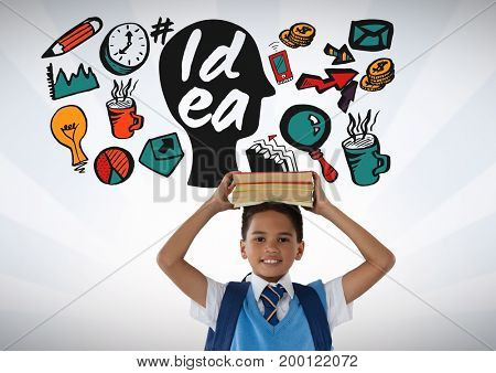 Digital composite of Schoolboy holding books on head with colorful idea graphics