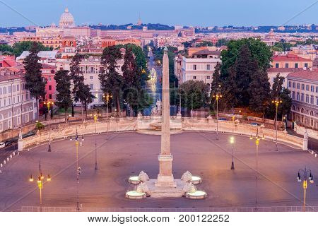A view of the famous Piazza del Popolo at dawn. Rome. Italy.