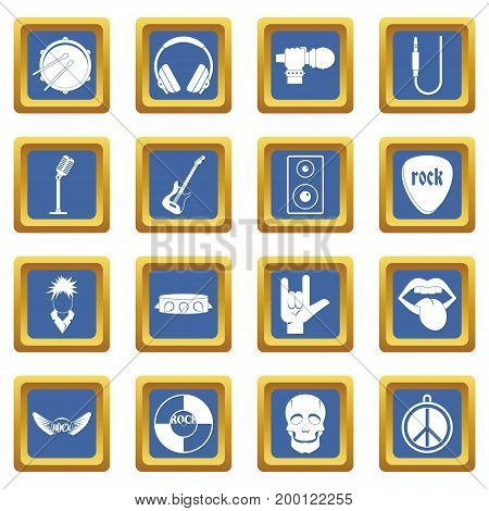 Rock music icons set in blue color isolated vector illustration for web and any design