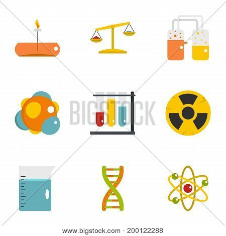 Chemical laboratory icon set. Flat style set of 9 chemical laboratory vector icons for web isolated on white background
