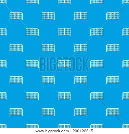 Gate pattern repeat seamless in blue color for any design. Vector geometric illustration