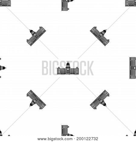 Palace of Congress in Buenos Aires, Argentina pattern repeat seamless in black color for any design. Vector geometric illustration