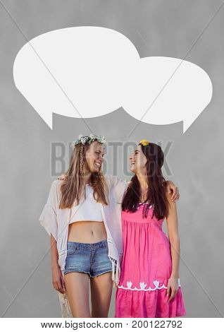 Digital composite of Couple with speech bubble against grey background