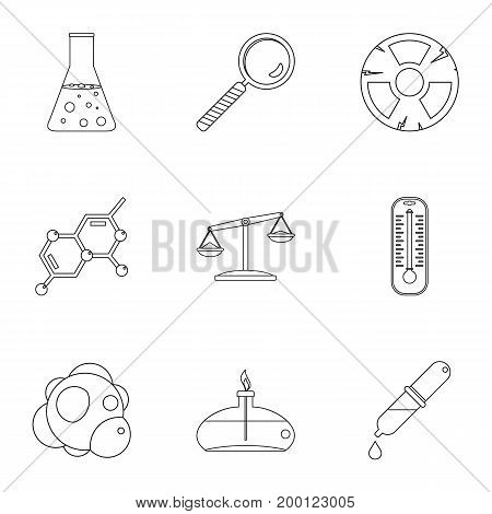 Chemistry icon set. Outline style set of 9 chemistry vector icons for web isolated on white background