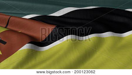 3D illustration of Mozambique flag fluttering in light wind.
