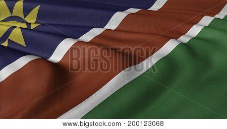 3D Illustration od Namibian flag fluttering in light wind.