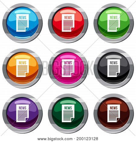 News newspaper set icon isolated on white. 9 icon collection vector illustration