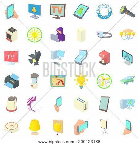 Electricity indicator icons set. Cartoon style of 36 electricity indicator vector icons for web isolated on white background