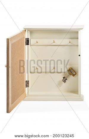 Decorative box of housekeeper with hanging lonely key isolated on white background