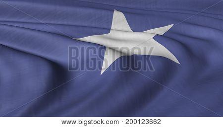 3d Illustration of Somalian flag fluttering in light wind.