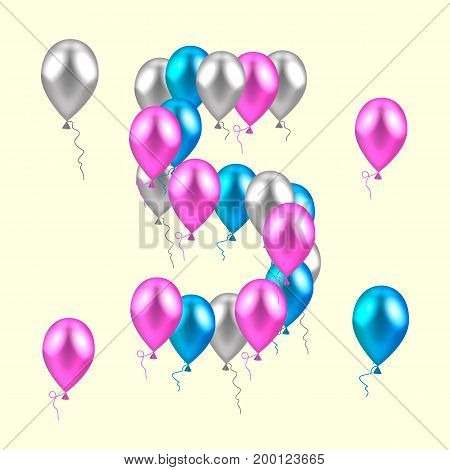 vector illustration. realistic colored balloons on the fifth birthday. pink, silver, blue
