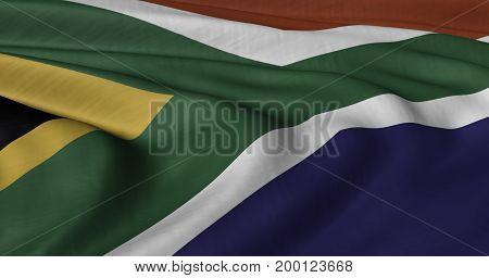 3D illustration of South African flag fluttering in light wind.