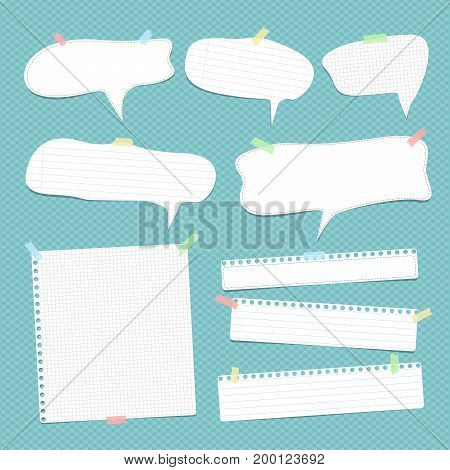 White speech bubbles, note, copybook, notebook paper with dashed line stuck on blue background