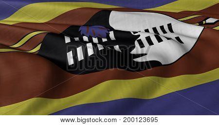 3D illustration of Swaziland flag fluttering in light wind.