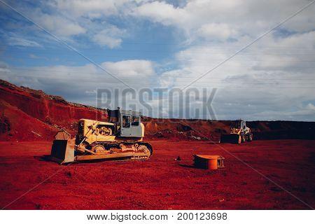 Yellow Excavators At Red Rock Quarry