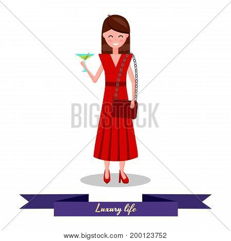 Vector illustration. Cute girl flat in red dress with handbag and martini glass. Luxury life.