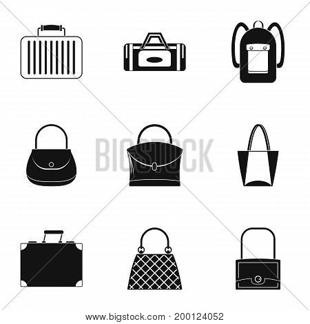 Bags and suitcases icon set. Simple style set of 9 bags and suitcases vector icons for web isolated on white background