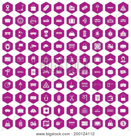 100 railway icons set in violet hexagon isolated vector illustration