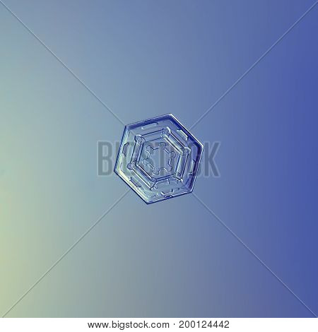 Real snowflake macro photo: small hexagonal plate snow crystal with simple shape, glossy relief surface and rich inner pattern. Snowflake glittering on smooth blue gradient background in cold light.