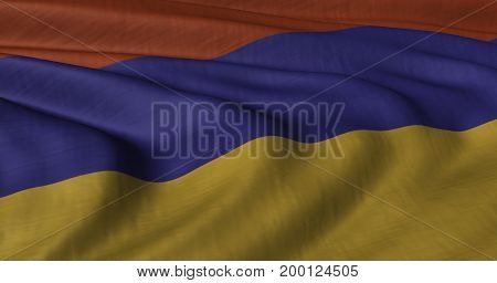 3D Illustration of Armenia flag fluttering in strong wind. Category Asia stock graphics.