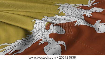 3D Illustration of Bhutan flag fluttering in strong wind. Category Asia stock graphics.