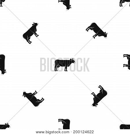 Cow pattern repeat seamless in black color for any design. Vector geometric illustration